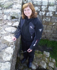 Picture of Catherine at a section of Hadrian's wall on the journey to Newcastle.