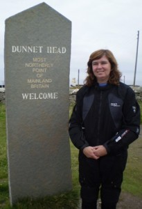 "Picture of the stone post at Dunnet Head saying ""Dunnet Head. Most Northerly point of mainland Britain. Welcome."