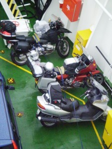 Picture of the loaded bike waiting to be loaded on the ferry. It is behind the Spanish bike we were to chase all the way to Fort William.