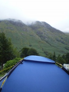 Picture of the tent with the hills around Ben Nevis in the background. The tops of the hills and mountains were rarely visible as cloud cover was always low with the amount of rain while we were there. The top of the picture is cloud.