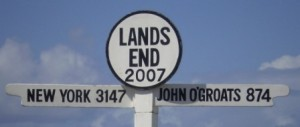 Picture of the Land's End sign post - It says Land's End 2007 - New York 3147. John O'Groats 874.