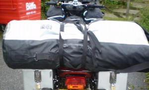 Picture of the long roll bag (three foot long) which sits on the back of the bike behind Cathy and acts as her backrest.