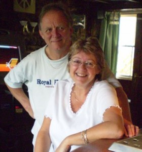 Picture of Tricia and Mike in the Bar smiling at the camera.