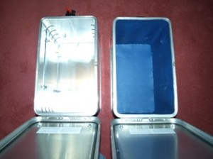 Picture of the new panniers taken from above. One has no lining and the other has been adapted.