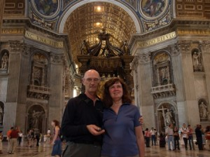 Picture of cathy and bernard inside Bassilica.