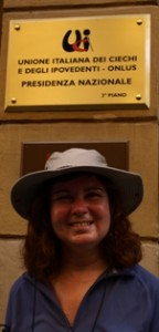 Picture of name plaque of Italian Federation of the Blind in Rome.