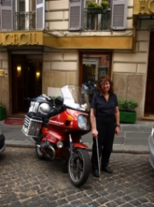 Picture of cathy outside hotel cecil in rome.