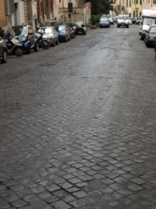 Picture of 'protected' road surfaces in Rome!
