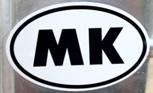 Picture of Macedonian vehicle sticker showing letters MK for Makenonia.