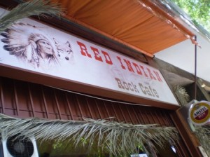 Picture of the Red Indian sign above the cafe.