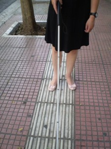 Picture of the Tactile channels in the pavements of Athens.