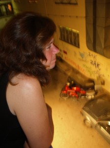 Picture of Cathy taken on the balcony of the Hostel in Athens.