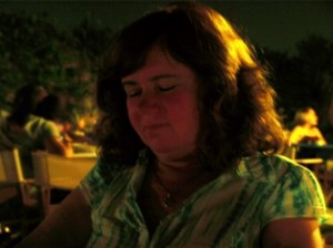 Picture of Cathy on the roof garden in the evening.