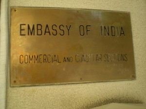 Picture of the brass wall plaque outside the embassy.