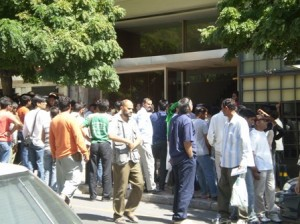 Picture of the queues outside the Pakistan Embassy.