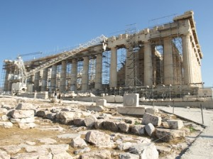 Picture of the scaffolding bestrewed acropolis!