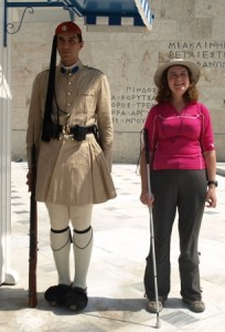 Picture of Cathy with one of the Parliament Sentries.