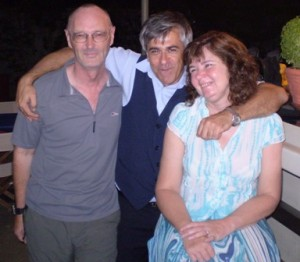Picture of Bernard, Manuel and Cathy on the roof garden.