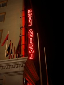 picture of the neon sign outside the hotel anibal