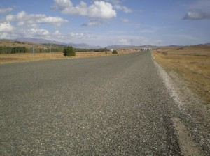 Picture taken in the middle of the journey showing the newly resurfaced road.