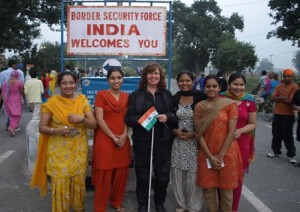 Picture of Cathy with her admiring fans at the Indian Border!