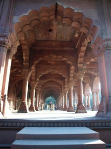 Picture showing one of the elaborate arches within the red fort.