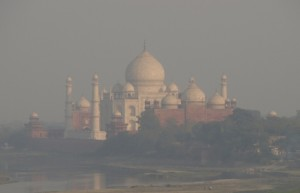 The Taj Mahal taken from the Agra fort.
