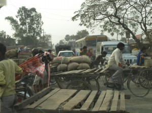 Picture of 'traffic' on the road to Delhi.