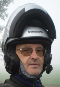 Picture of Bernard with helmet on on the road to Nepal.