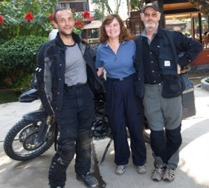 Picture of Ian, Cathy and Bernard as he is about to leave for India.