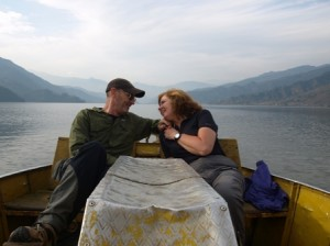 Picture of Bernard and Cathy as the Christmas diary was being filmed on the lake at Pokhara.