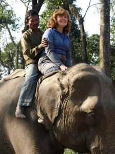 Picture of Cathy on top of the elephant.