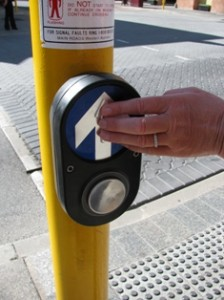 Picture of the Australian vibrating road direction arrow at traffic lights.