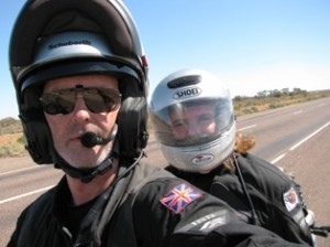 Picture of Bernard and Cathy (head shot) on the final day towards Adelaide.