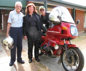 Picture of Pat, Cathy and Bernard by Bertha on his front drive.