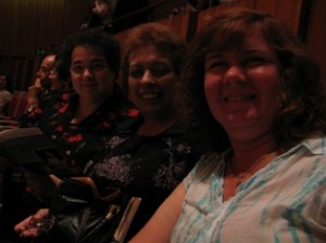 Picture of - from left to right - Vicky, Pauline and Cathy at the Opera House before the concert begins.