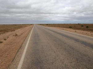 Picture of a road which induces the 1000 yard stare in Bernard - it is straight and not a tree or bush breaks the horizon.