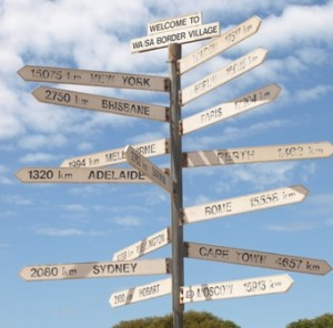 Picture of a many armed road sign showing distances to cities in Australia, England and Russia. England is 17,517 kilometres away - as the crows fly!
