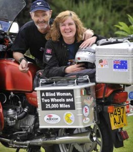 Picture published in Perth Now of Cathy and Bernard leaning over the bike towards the camera. A rare shot of Bernard without his glasses!