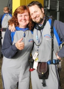 Picture of Cathy and Shamus - the excellent guide for the Harbour Bridge climb.