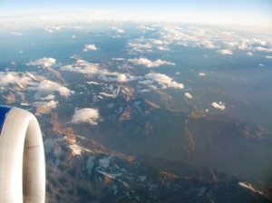 Picture taken through the plane's window as we flew over the Andes