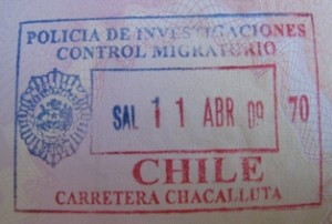 Picture of the passport stamp into Chile showing entry on the 29th March - Bertha's stamp is later in date!