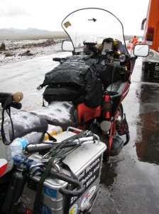 Picture of Bertha showing the hail and wetness of the day as we sit waiting for the road to open.