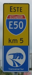 Picture of the sign Bernard pulled up at in a panic - it says Ecuador E50!
