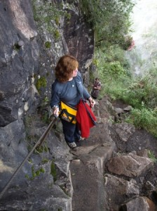 Picture of Cathy climbing the mountain. This section actually has a hand rail!