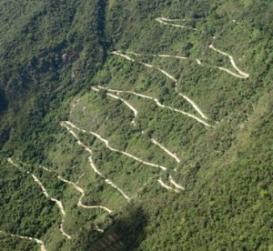 Picture of the winding road up the the Lost City of the Incas.