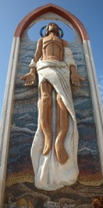 Picture of a beautiful mosaic of Christ in the Ascension which stood 30 foot high.