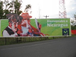 Picture of a bill-board which proclaims its welcome to Nicaragua.