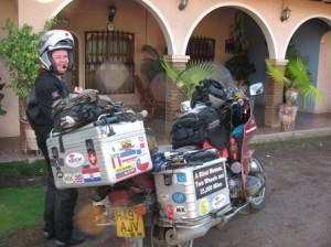 Picture of Cathy and Bertha outside the guest house we stopped at for the night.
