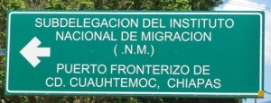 Picture of the road sign for migracion into Mexico.